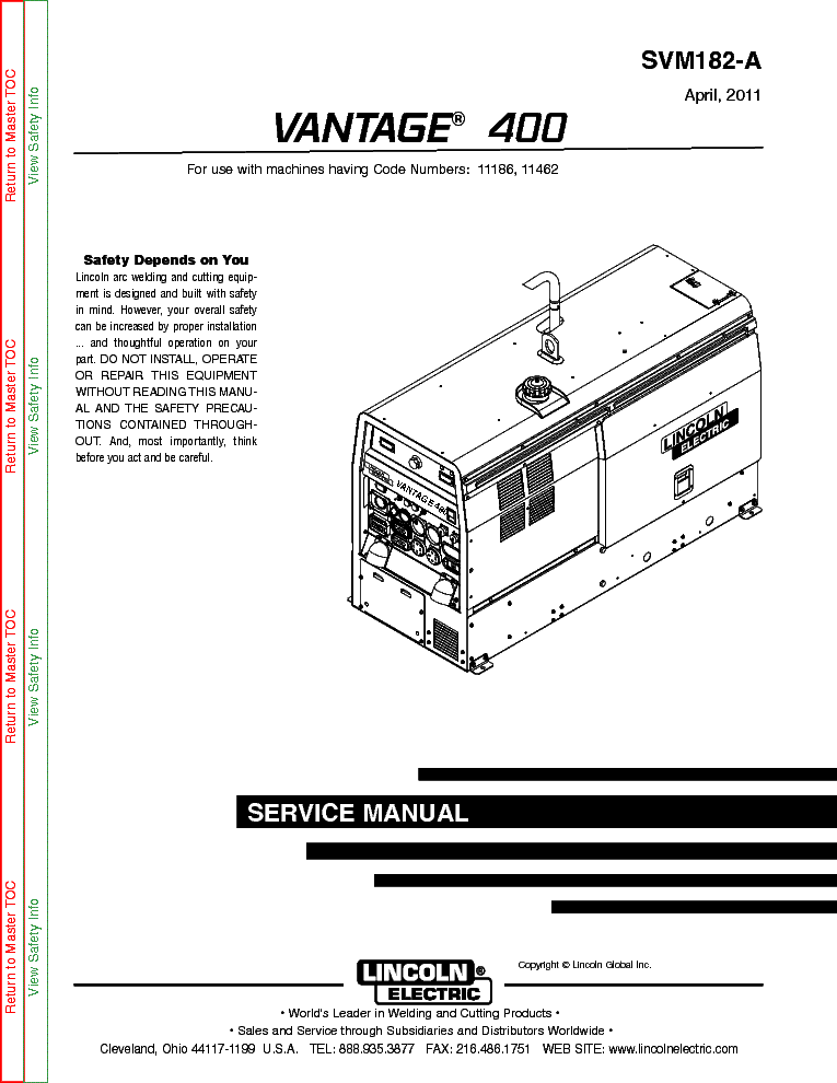 lincoln electric svm182-a vantage 400 service manual (1st page)