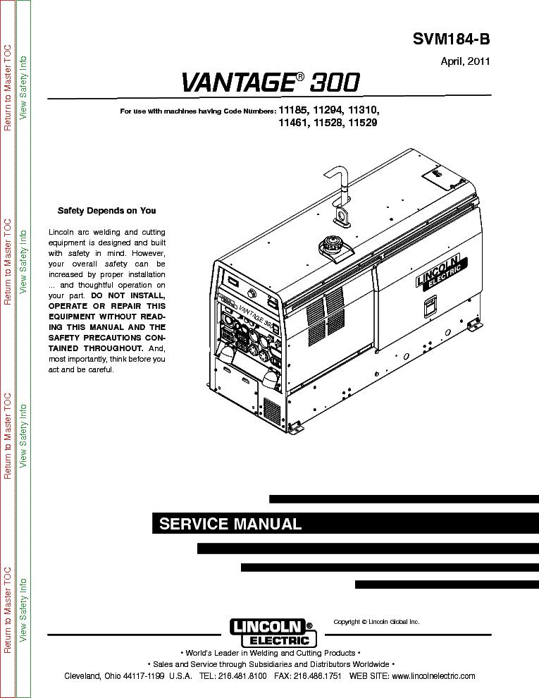lincoln electric svm184 b vantage 300 service manual download