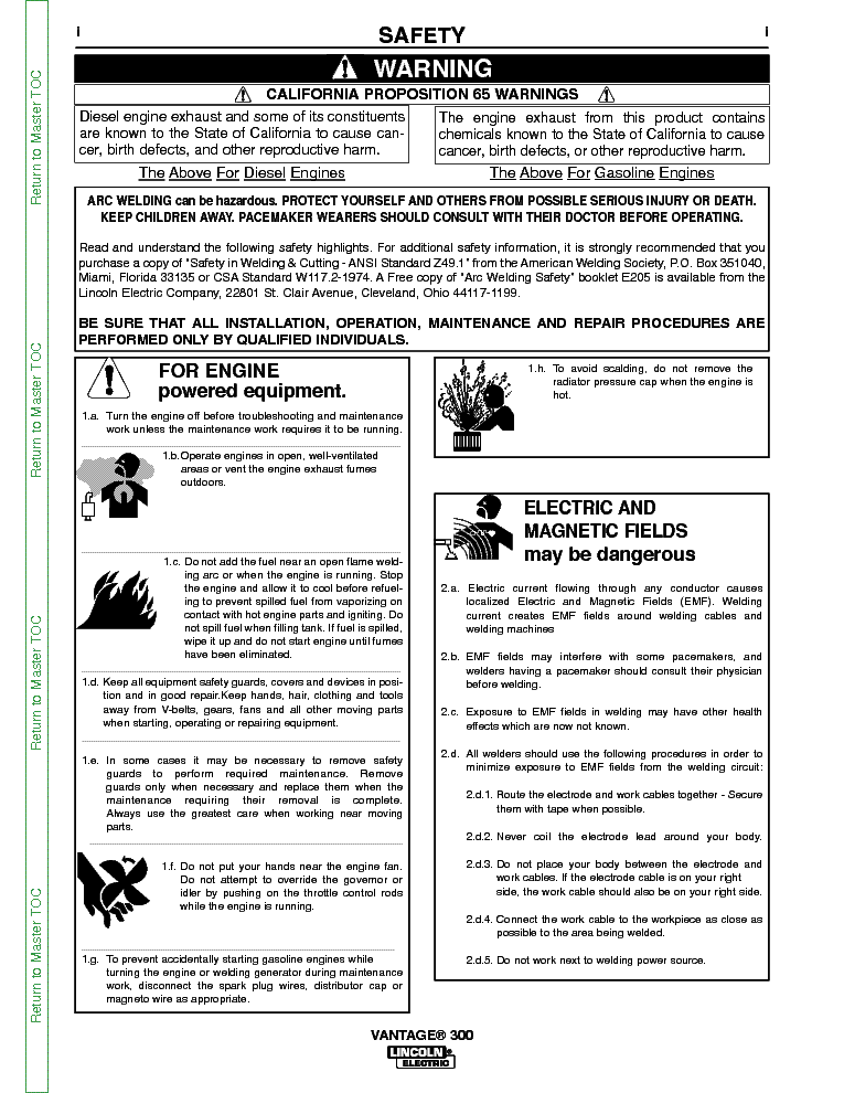 lincoln electric svm184-b vantage 300 service manual (2nd page)