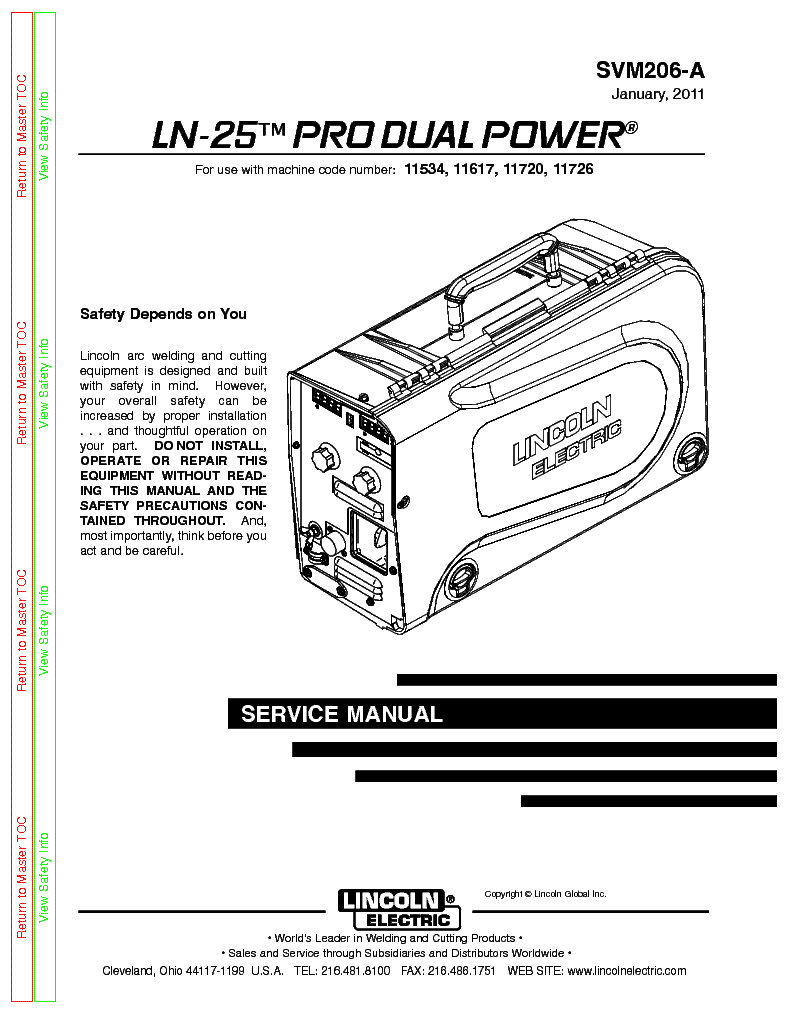LINCOLN ELECTRIC SVM206-A LN-25 PRO DUAL POWER service manual (1st page