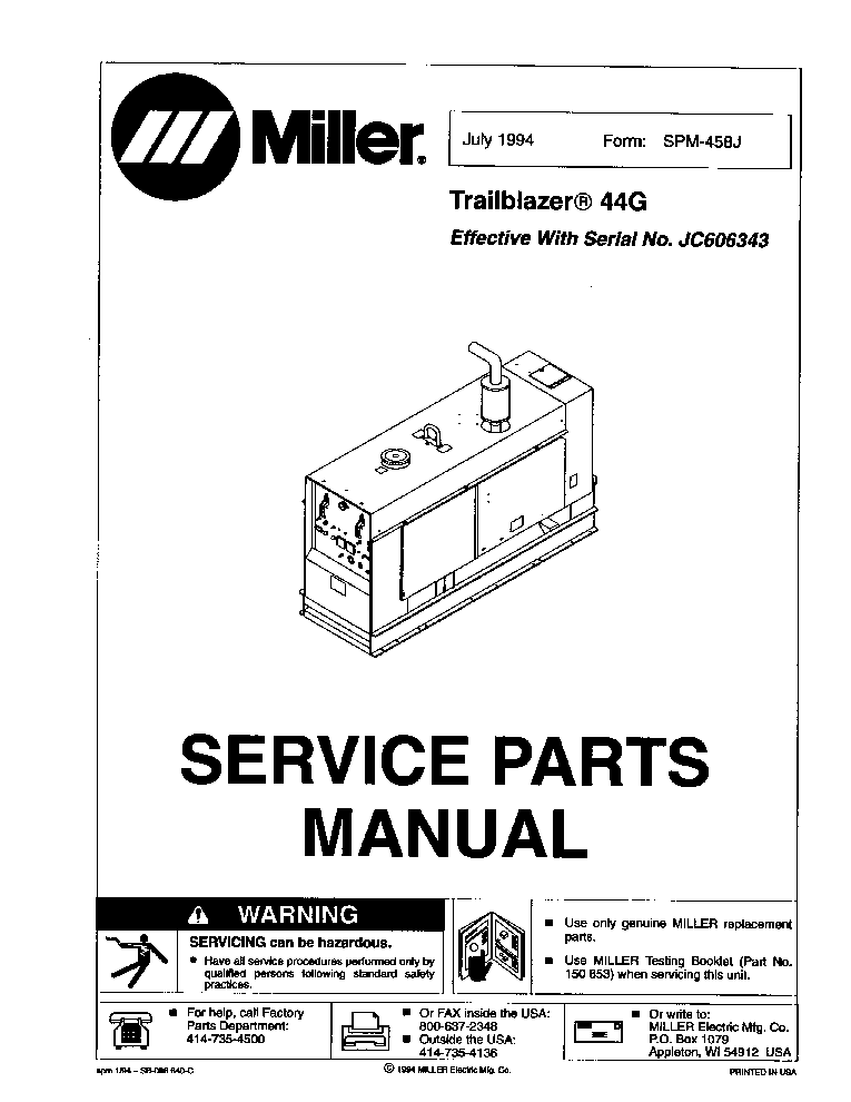 MILLER TRAILBLAZER 44G NO.JC606343 PARTS-MANUAL service manual