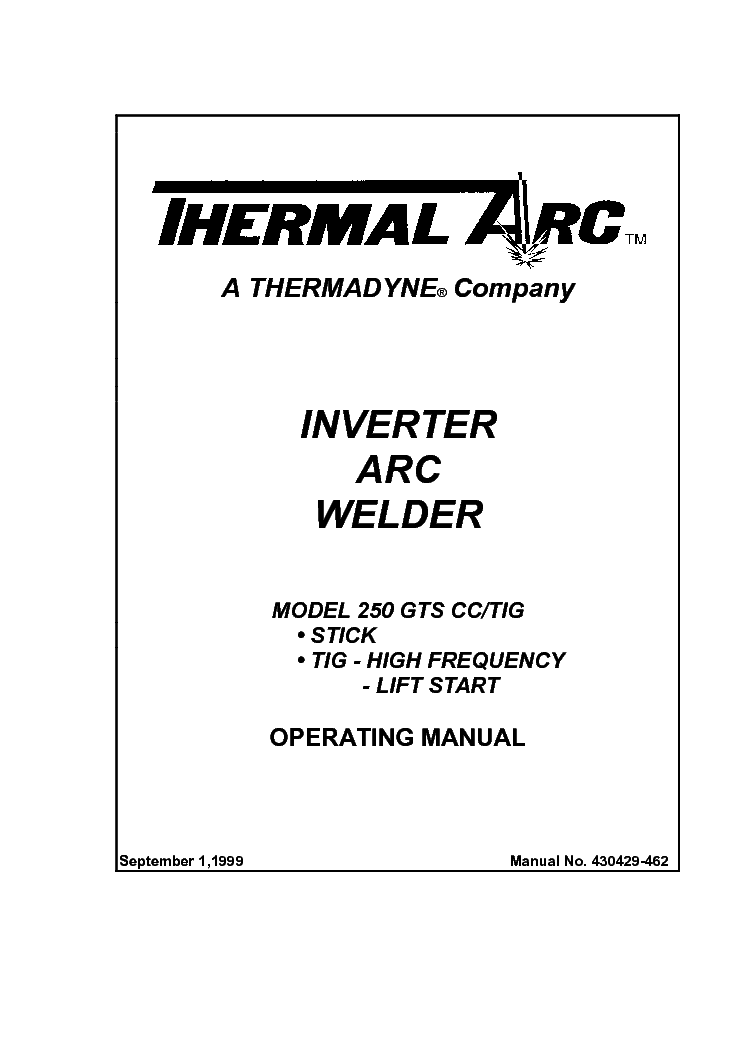Thermal Arc 250gts Cc Tig Eng