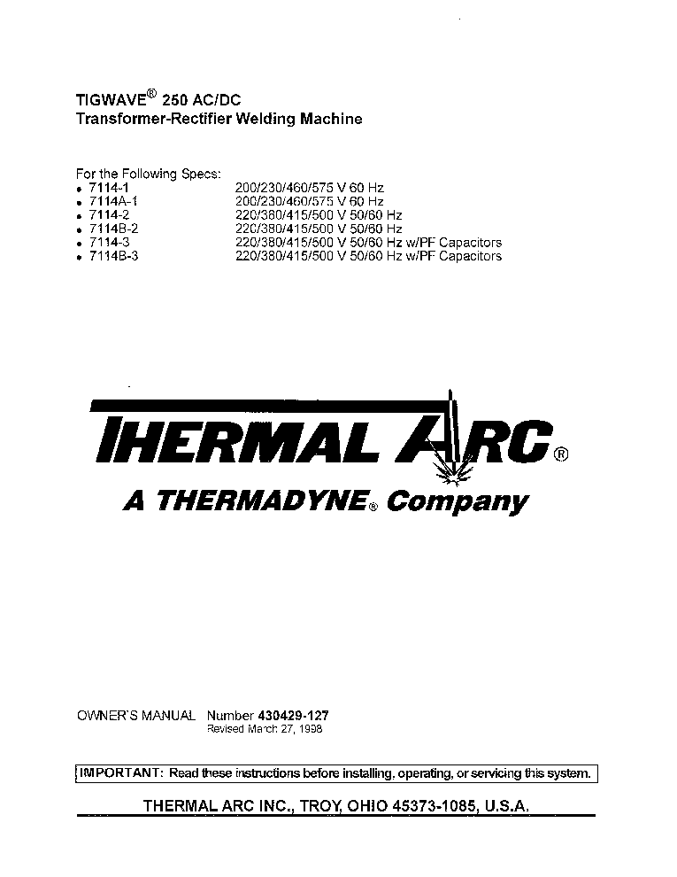 Thermal Arc Tigwave 250ac Dc Eng