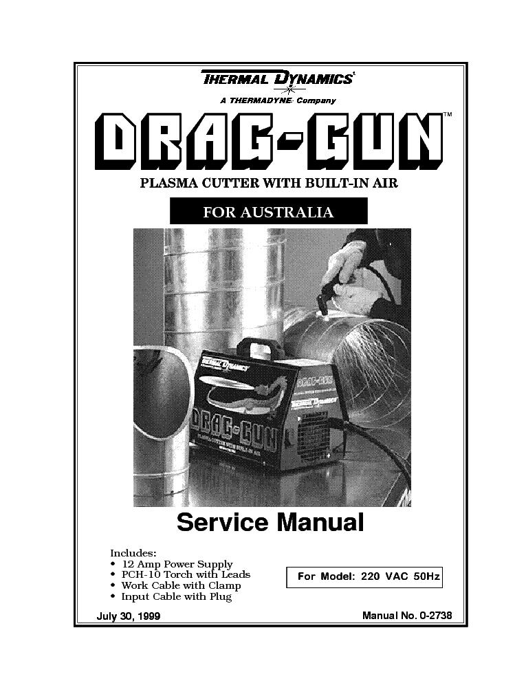 THERMAL DYNAMICS DRAG-GUN ENG-SM Service Manual download, schematics