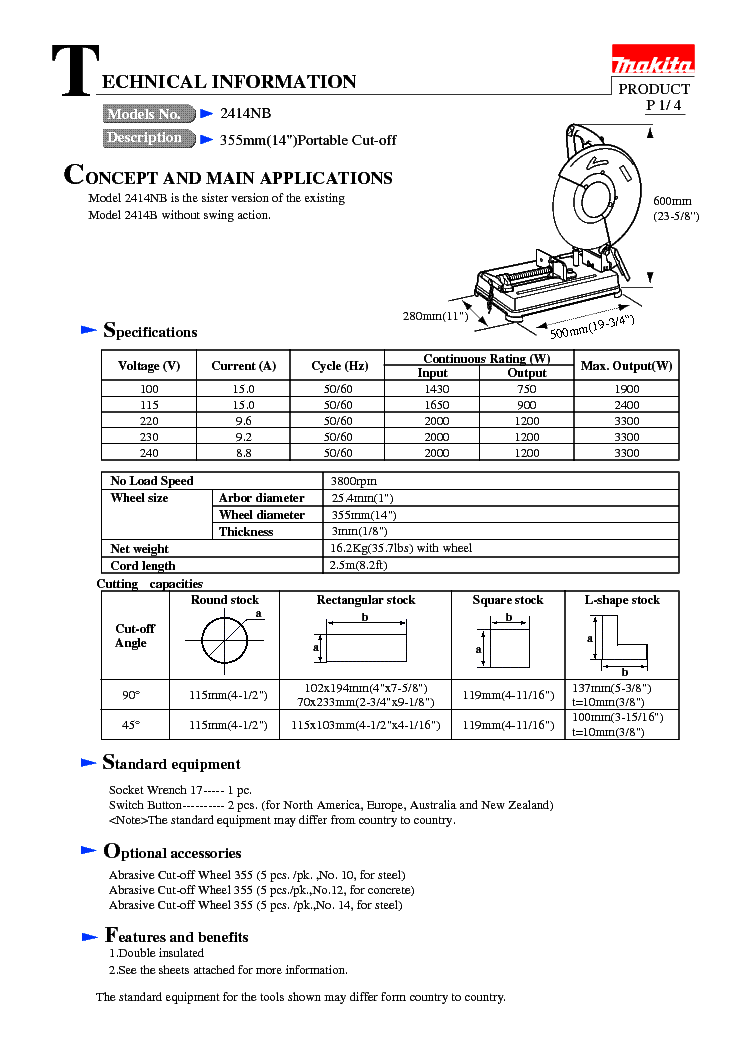 MAKITA 2414NB MANUAL PDF