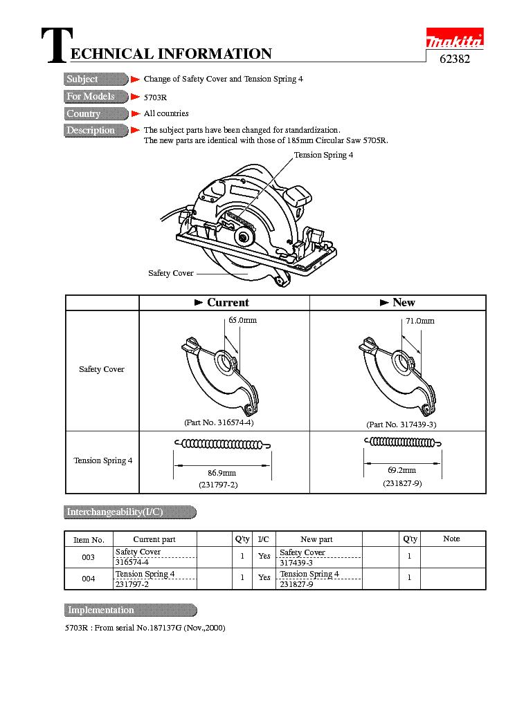 MAKITA 62382-WW-1 service manual (1st page)
