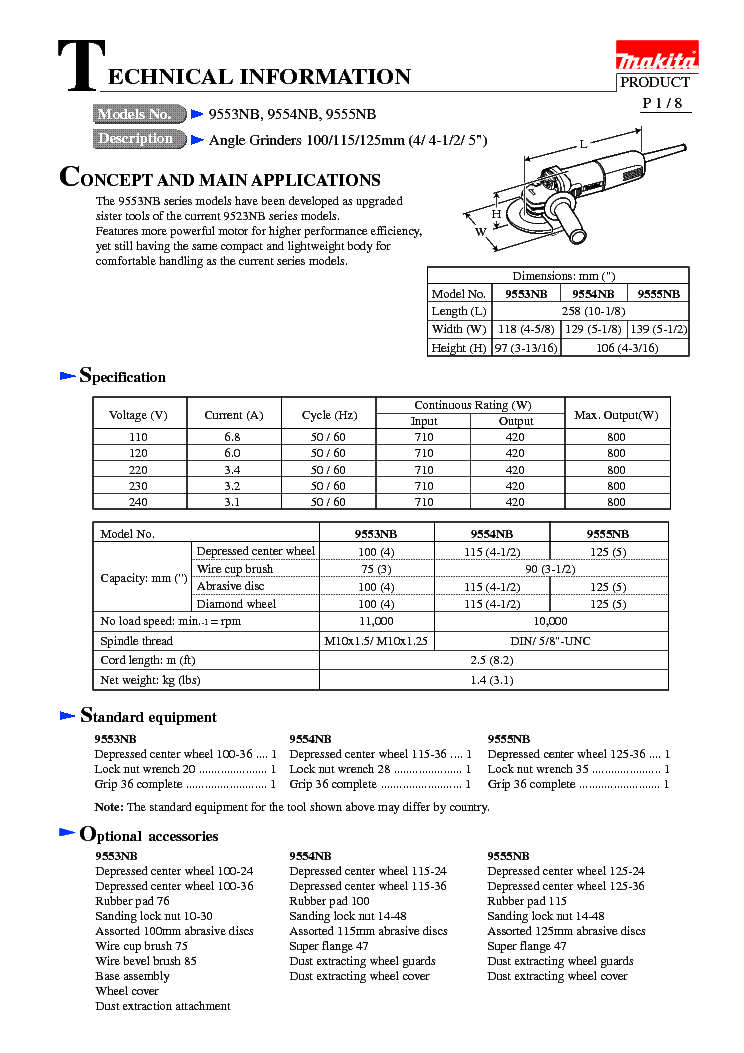 MAKITA 9555NB-TE Service Manual download, schematics, eeprom