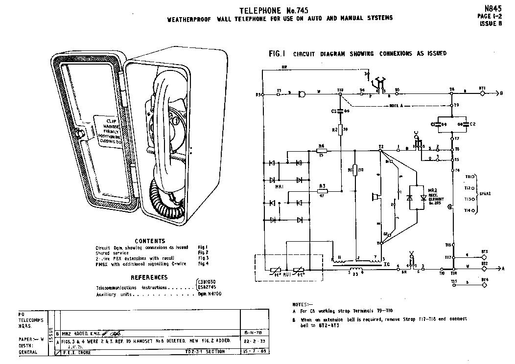 BT-BRITISH TELECOM TELEPHONE-745-B WEATHERPROOF WALL TELEPHONE FOR
