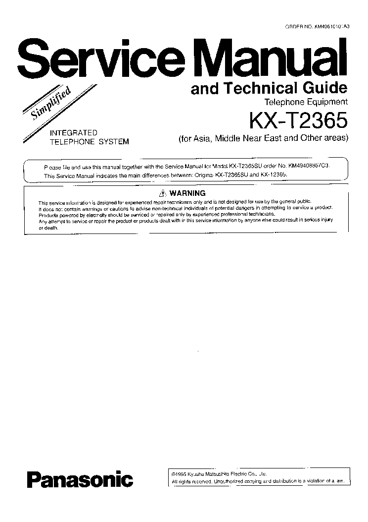 PANASONIC KX-T2365 service