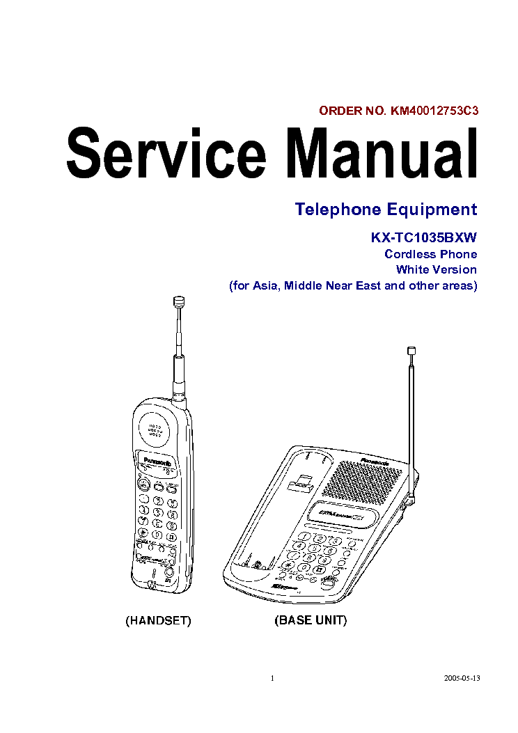 panasonic kx tc1035bxw cordless phone service manual schematics rh elektrotanya com panasonic cordless phones manuals kx-tg785 panasonic cordless phones manuals kx-tg7731