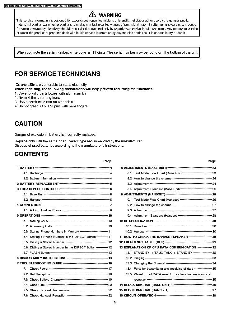 PANASONIC KX-TC1205 Service Manual download, schematics, eeprom