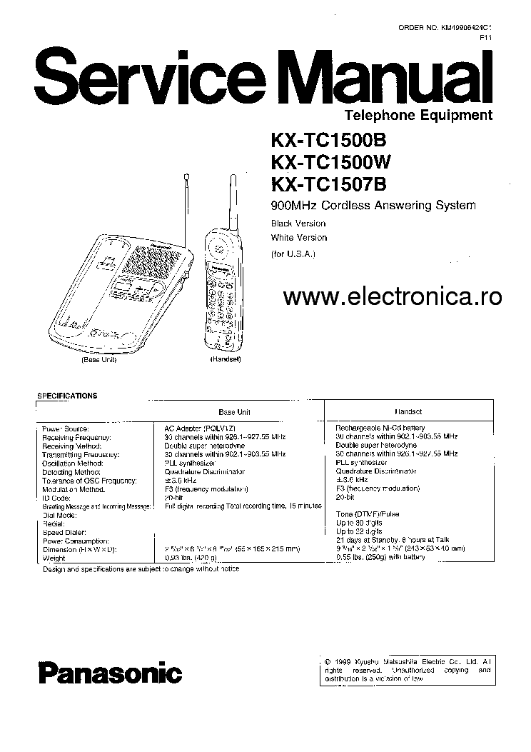PANASONIC KX-TC1500B-W-1507B service manual