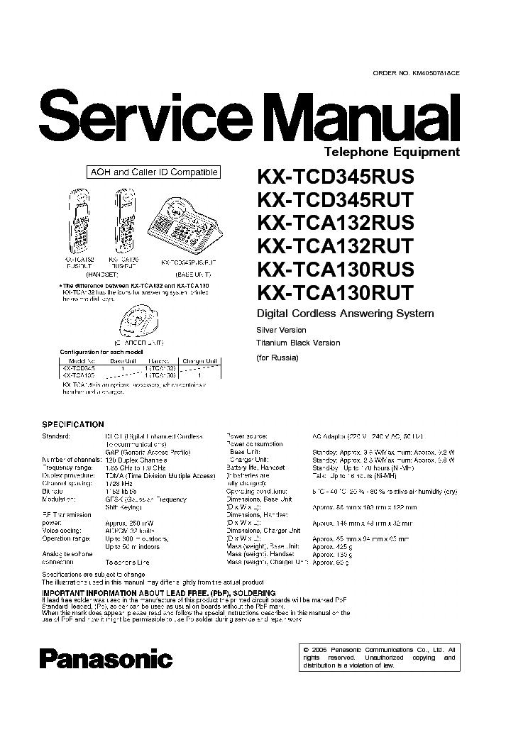 Panasonic Kx-Tca130Ru