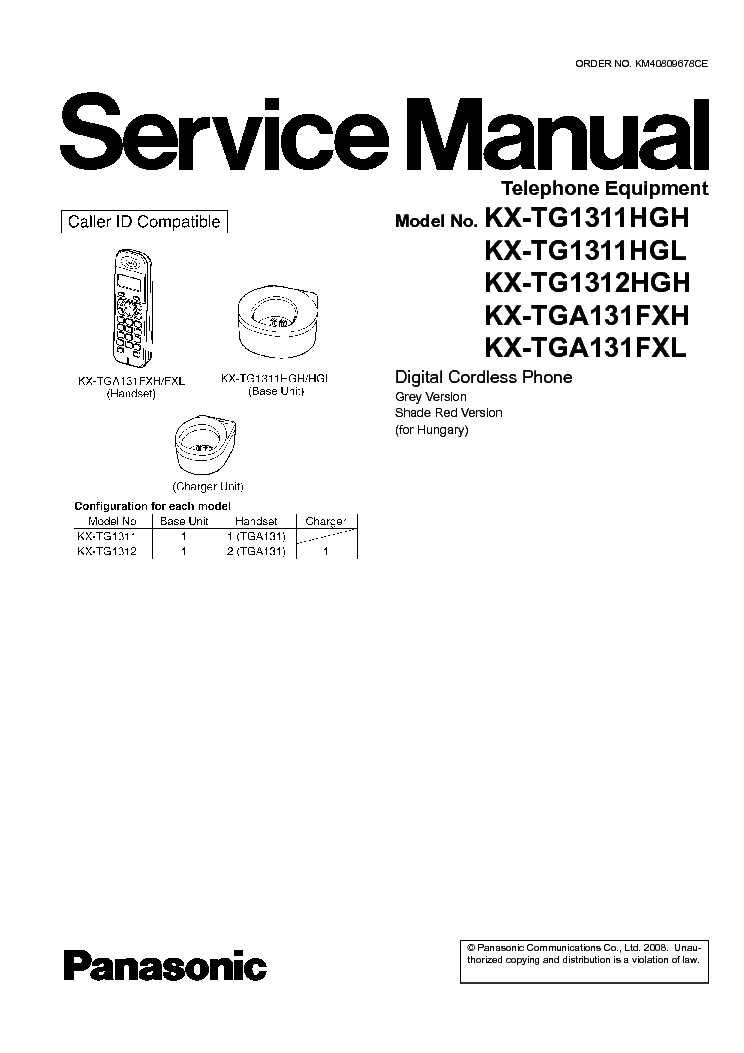 PANASONIC KX-TG1311HG service manual