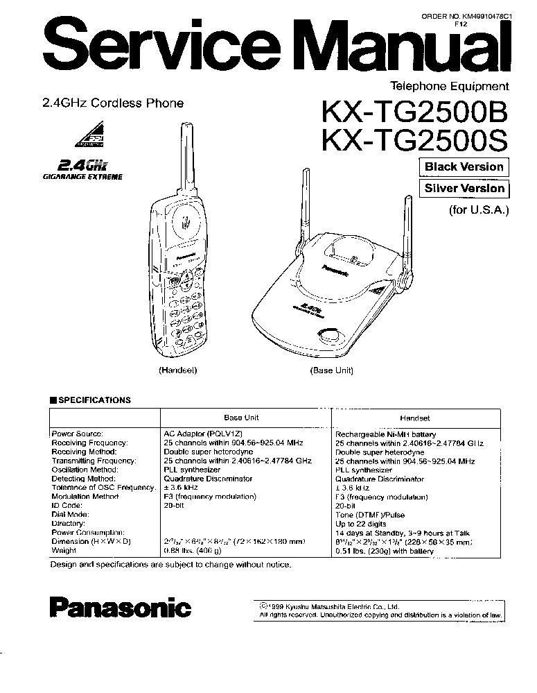 PANASONIC KX-TG2500 SM