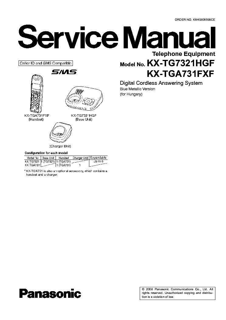 panasonic kx tg7321hg service manual download schematics eeprom rh elektrotanya com Panasonic Kx Phone Manual Panasonic Kx Cordless Phone Manual
