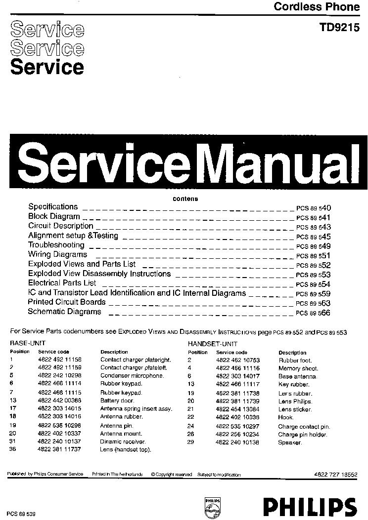 Philips Td9215 Sm Service Manual Download  Schematics