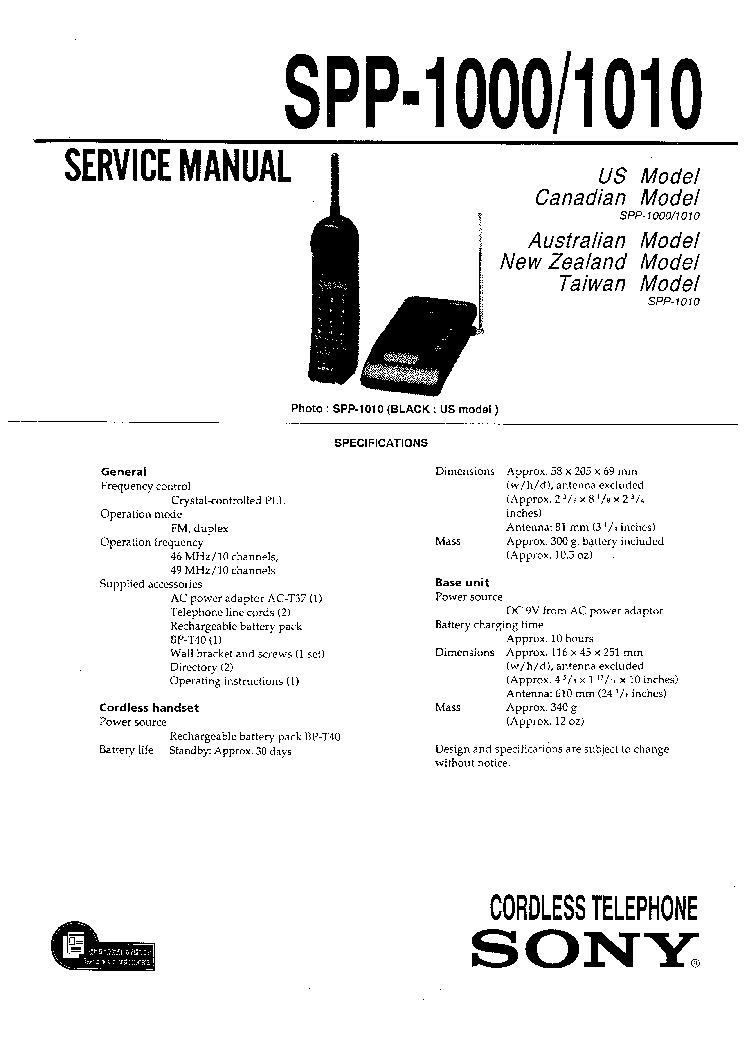 1000 1010 sony spp-1000 1010 service manual download, schematics