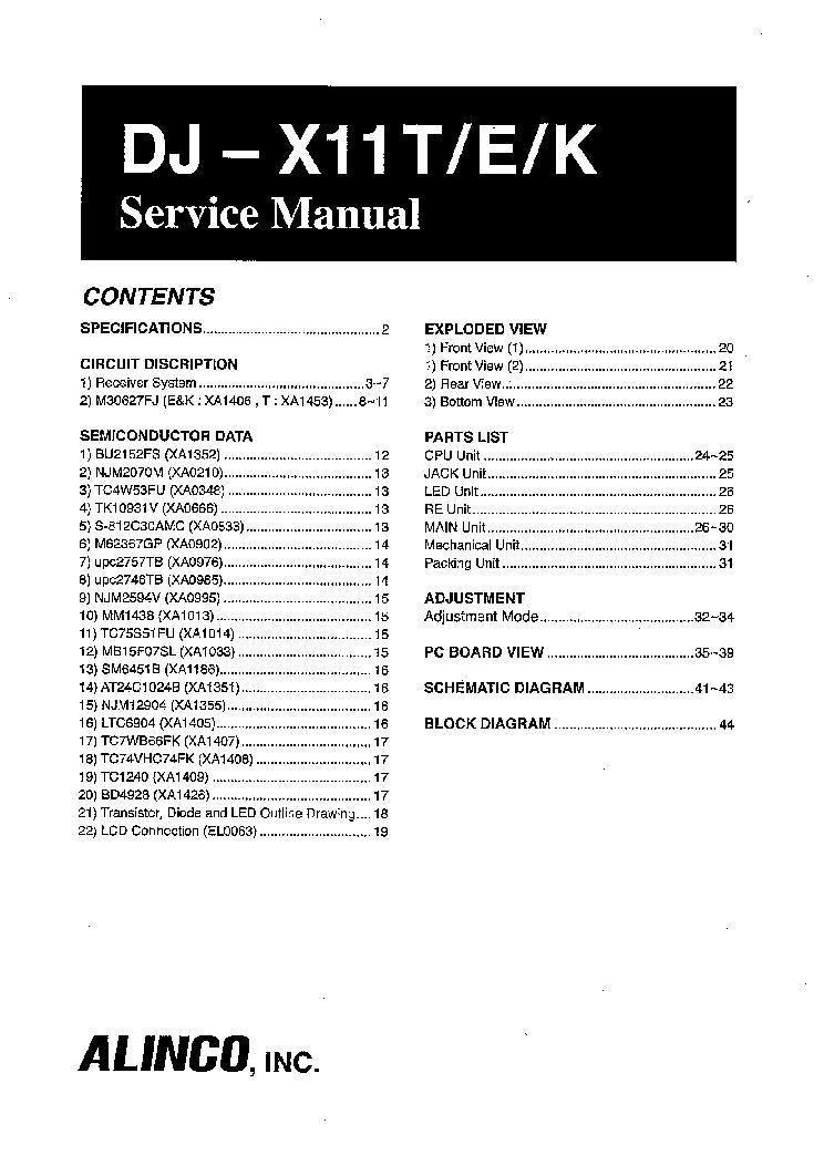 alinco dj x11t e k sm service manual download schematics eeprom rh elektrotanya com