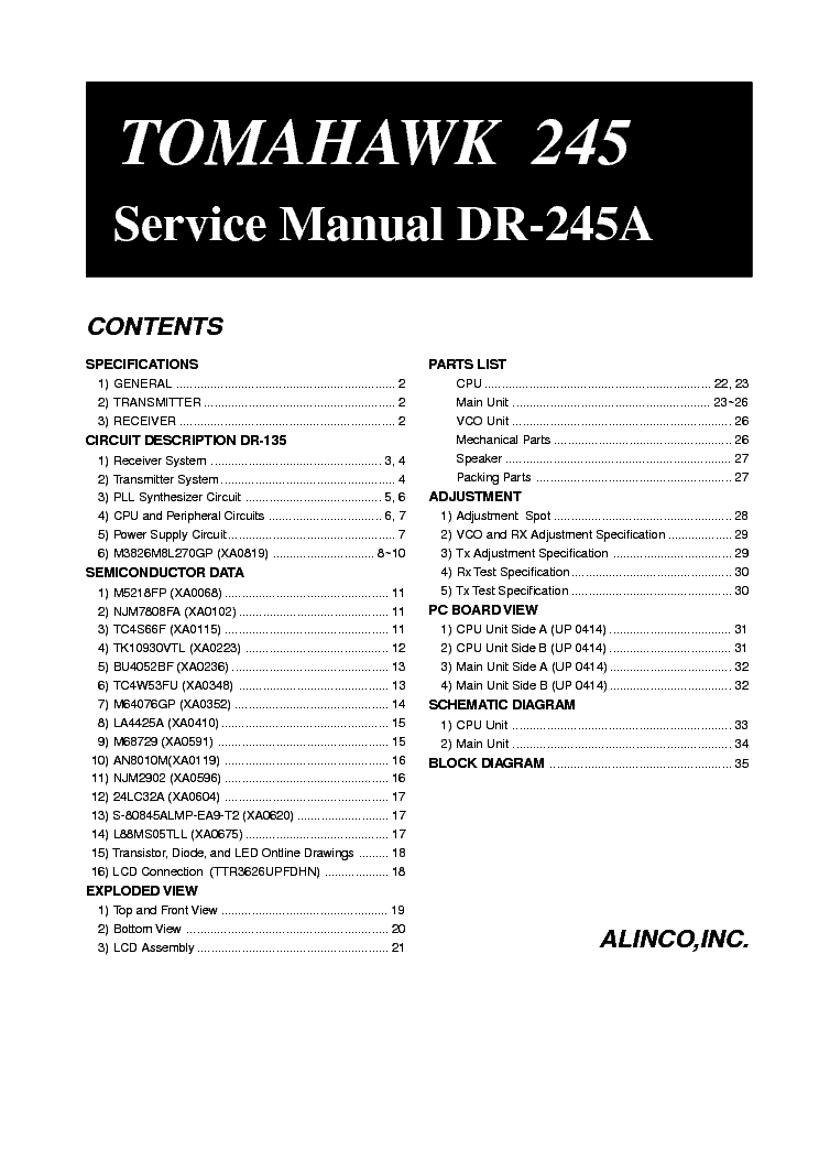 Alinco dx 701 Service Manual