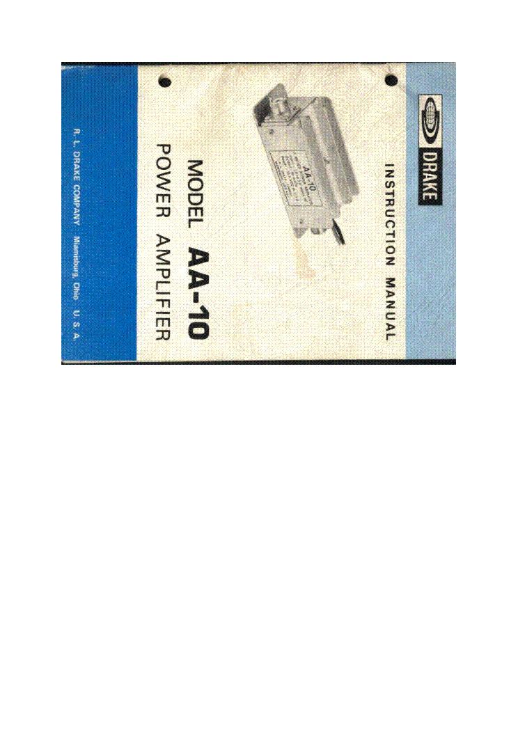 DRAKE AA-10 POWER AMPLIFIER Service Manual download, schematics