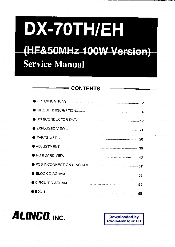 ALINCO DX-70TH service manual