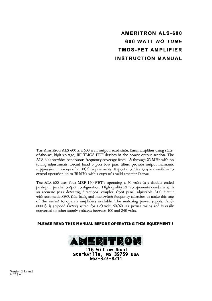 Ameritron Als Tmos Fet Mhz W Rf Amplifier With Xmrf Fet Sm Pdf on Ameritron Al 811 Schematic