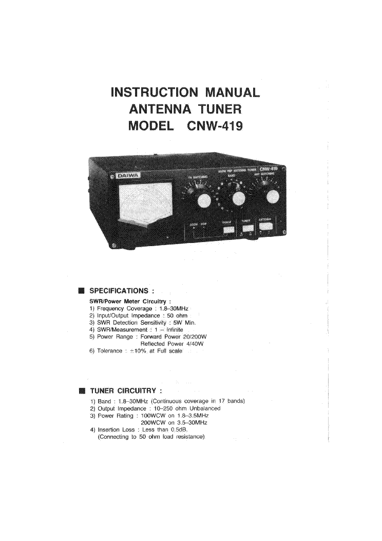 DAIWA MODEL CNW-419 ANTENNA TUNER service manual