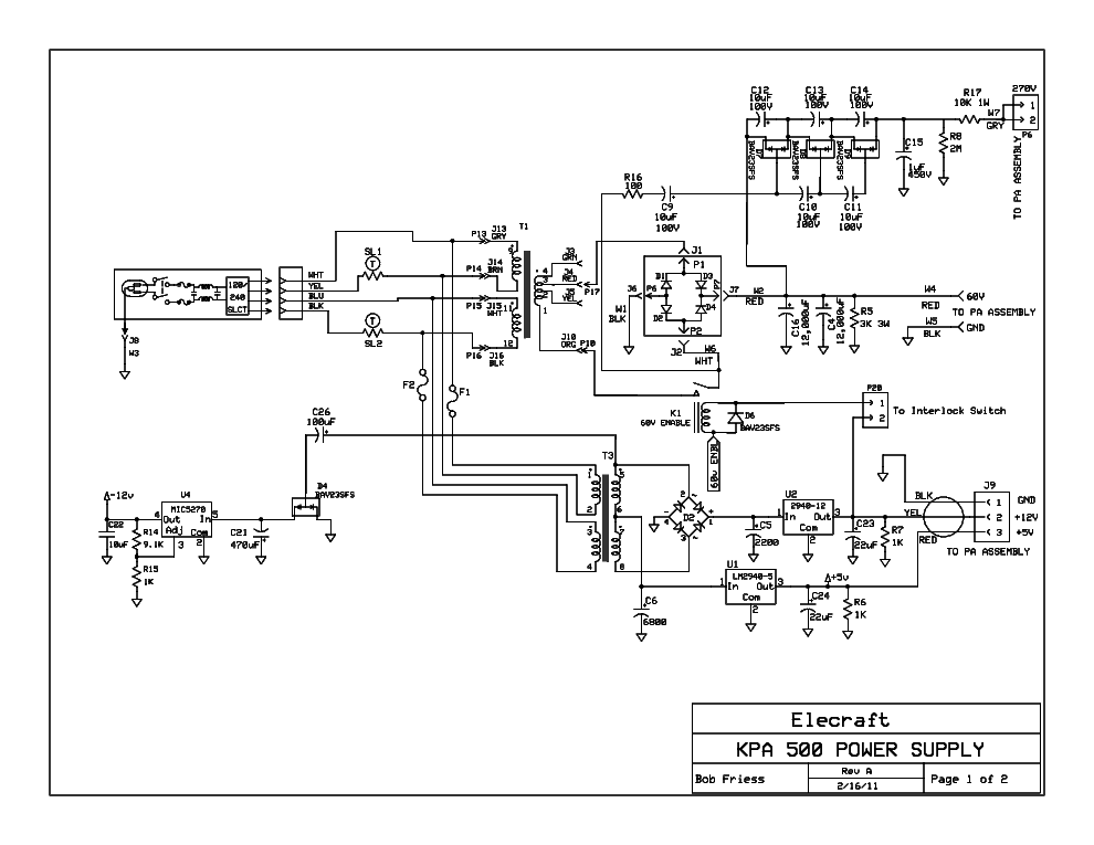 Elecraft Kpa500 Sch Service Manual Download  Schematics
