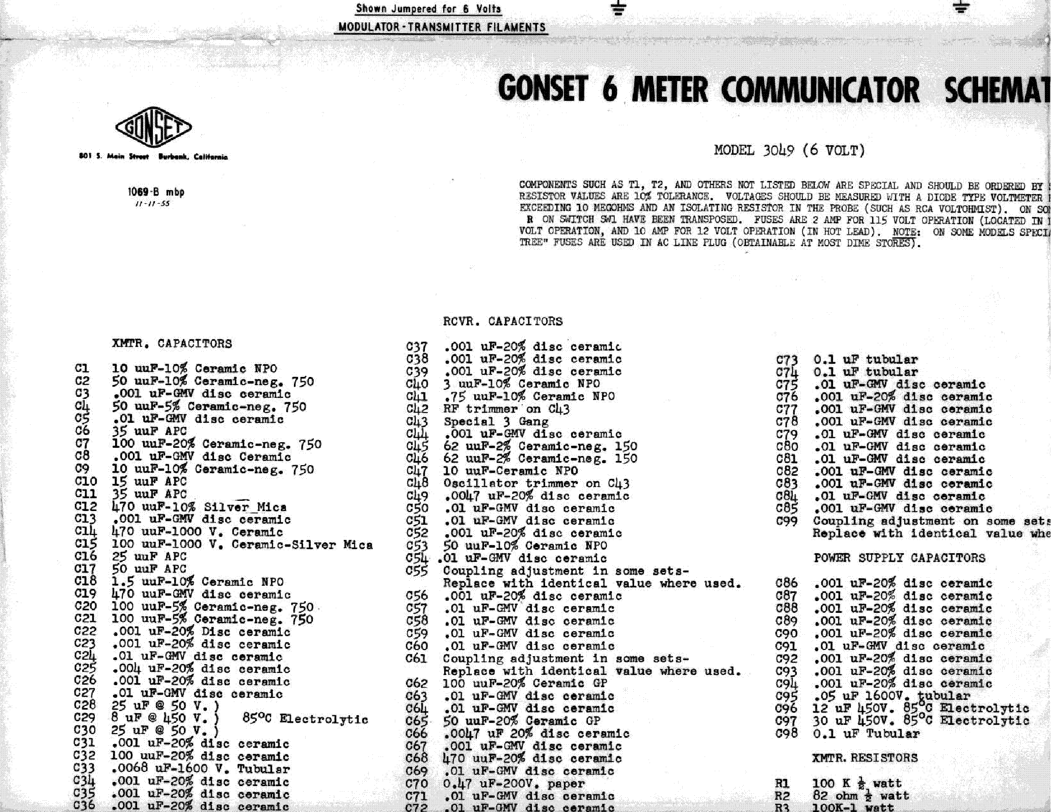 Gonset 3049 6 Meter Communicator Service Manual Download  Schematics  Eeprom  Repair Info For