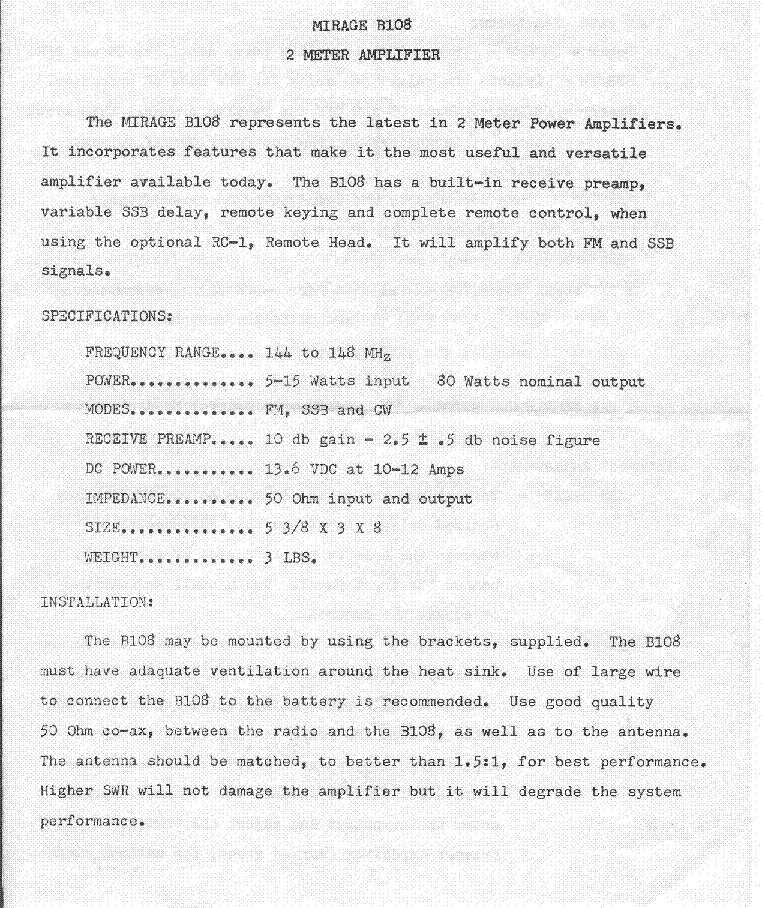 MIRAGE B-108 2 METER RF AMPLIFIER Service Manual download