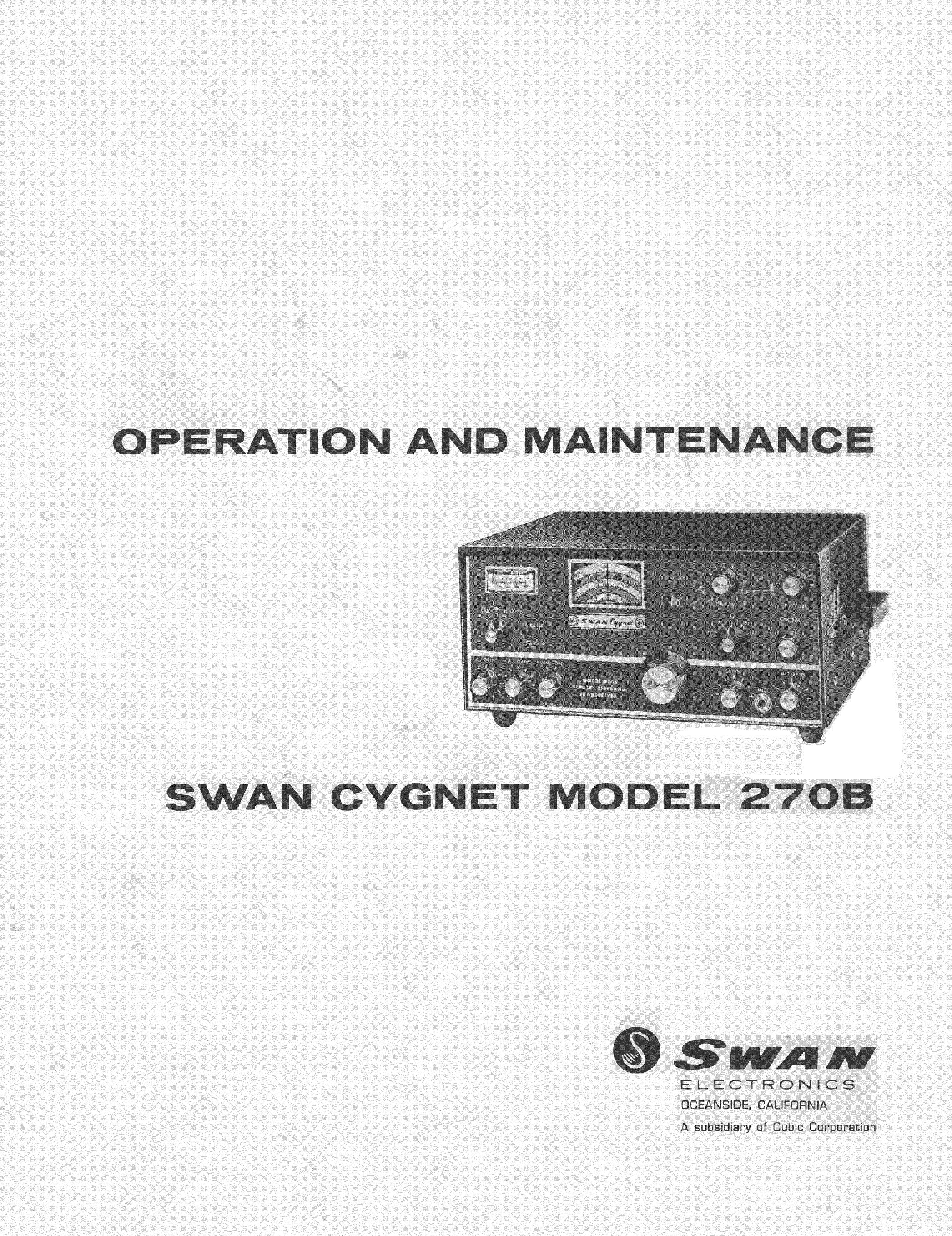 swan cygnet 270b 10 80m sw 270wpep ac and dc12v ssb transceiver sm rh elektrotanya com Swan 500Cx Transceiver Swan 700Cx