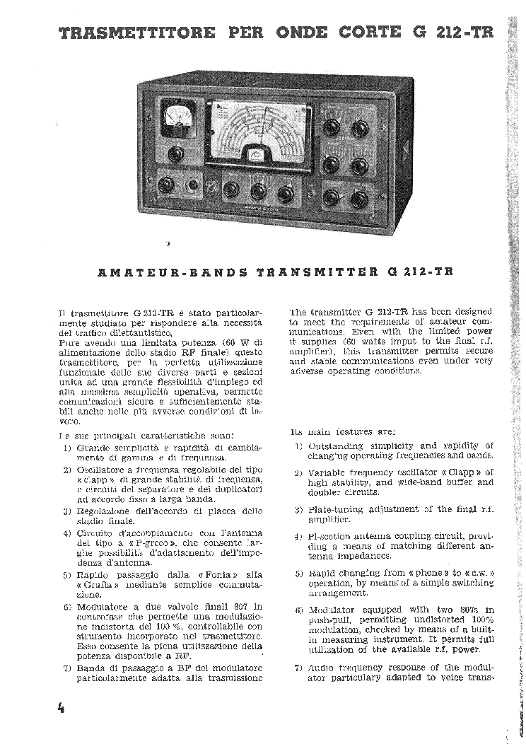 GELOSO G-212 TRANSMITTER service manual (1st page)