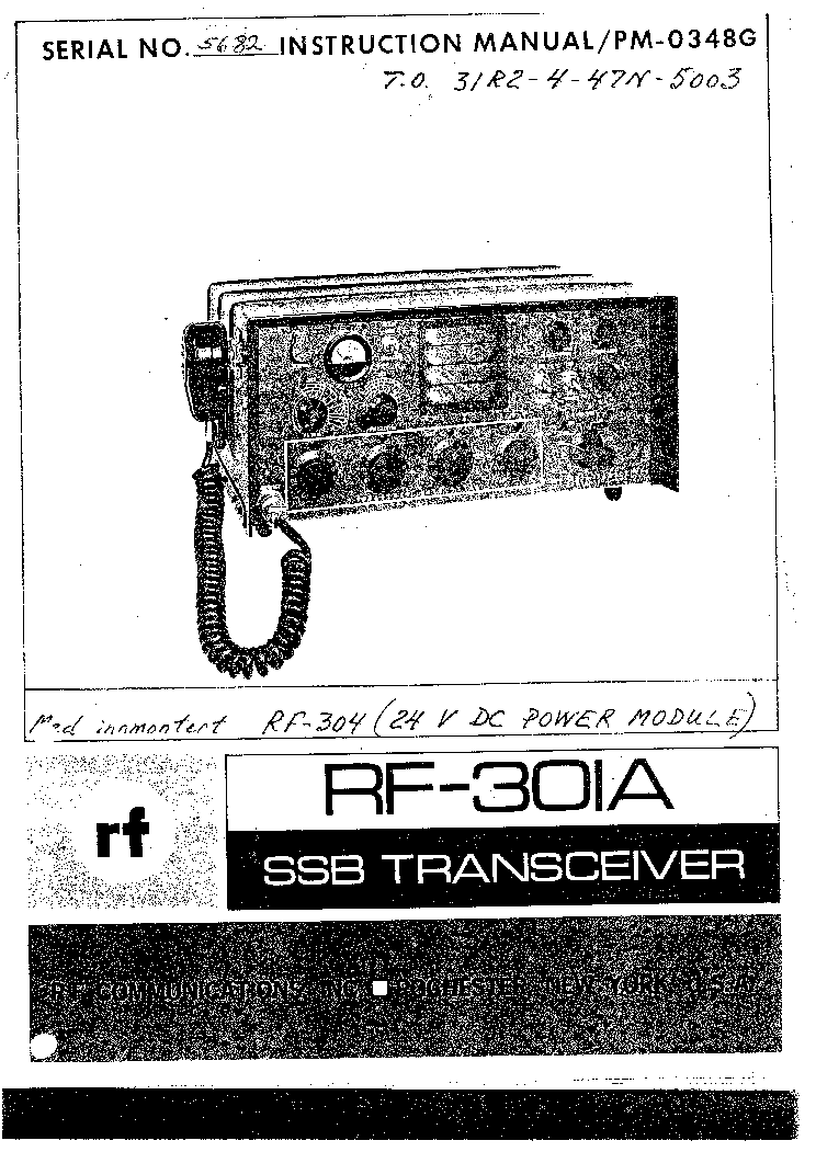 HARRIS RF-301A TRANCEIVER service manual
