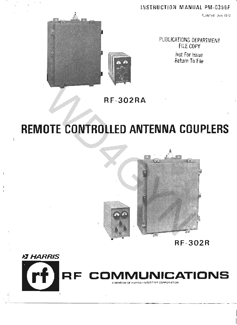 Harris Rf 302 R Ra Remote Controlled Antenna Couplers 1973 85 Sm Coupler Schematic