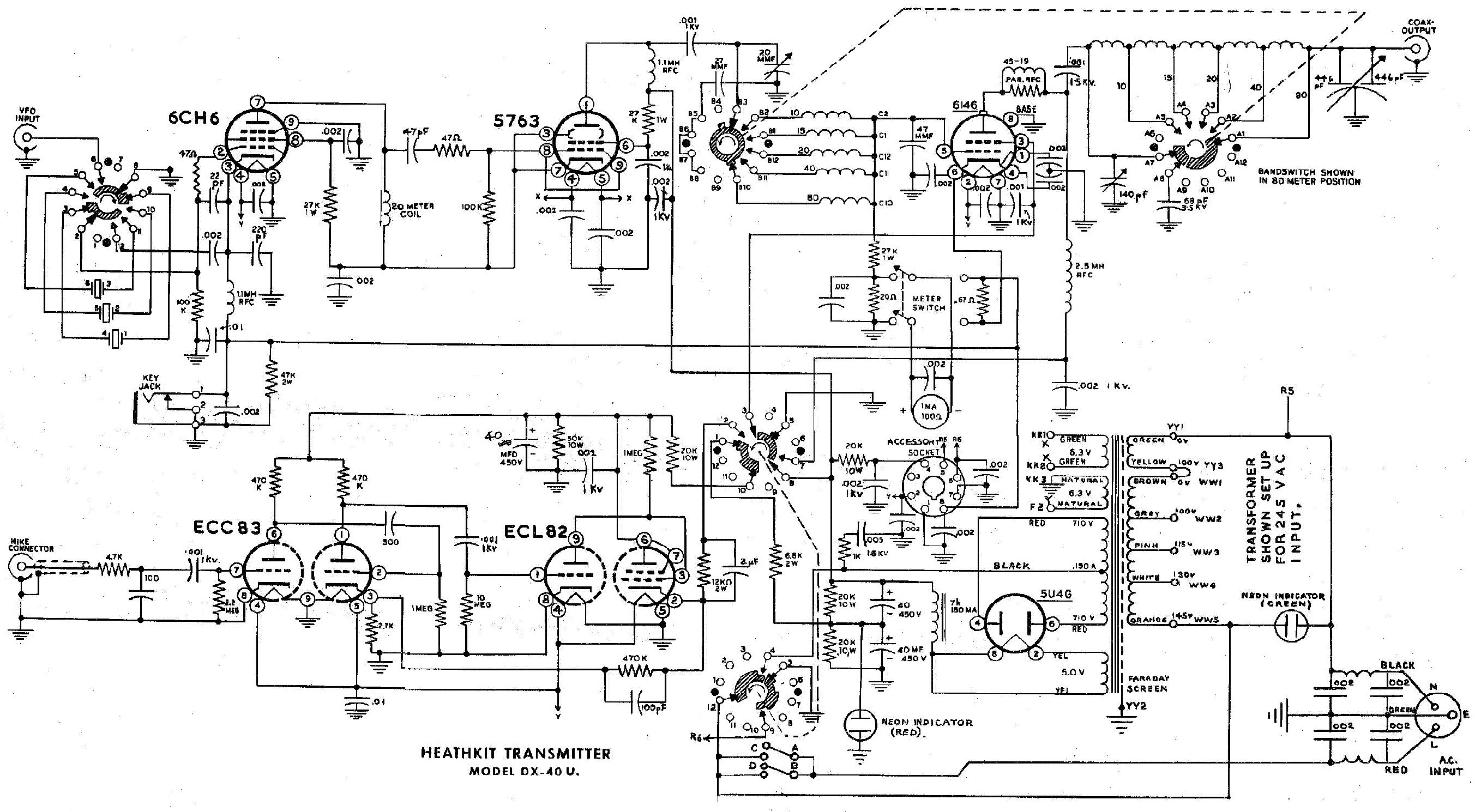 HEATHKIT DX-40-U TRANSMITTER SM service manual (1st page)