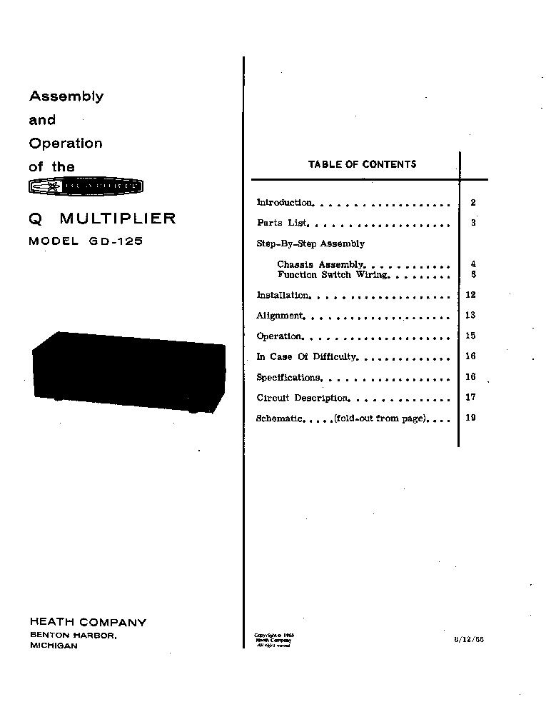heathkit gd qmultiplier sm service manual free download, schematic