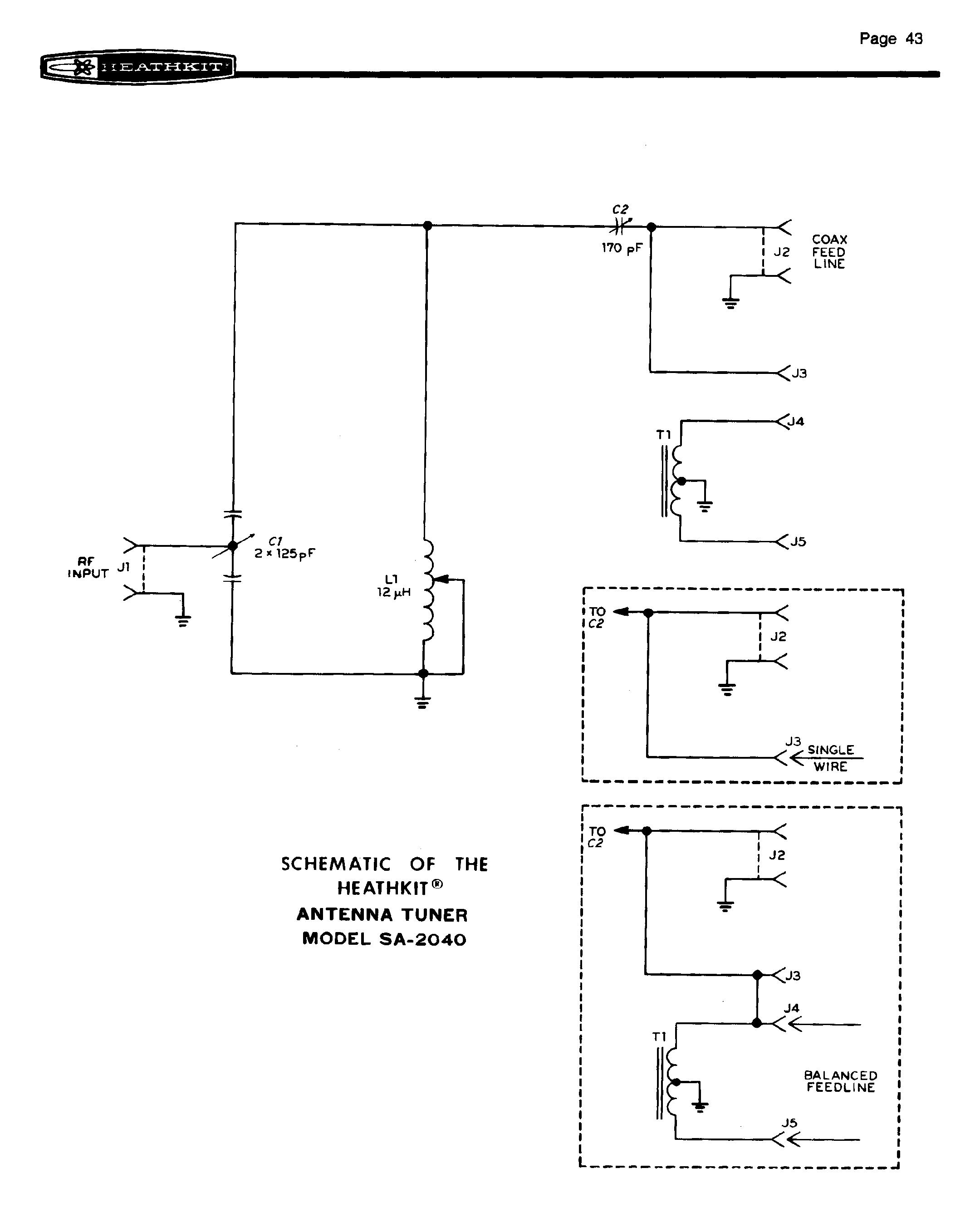 Heathkit sa-2040 2kw antenna tuner with manual   ebay.