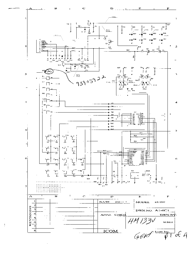 ICOM HM-133 EX-2539 SCH service manual (1st page)