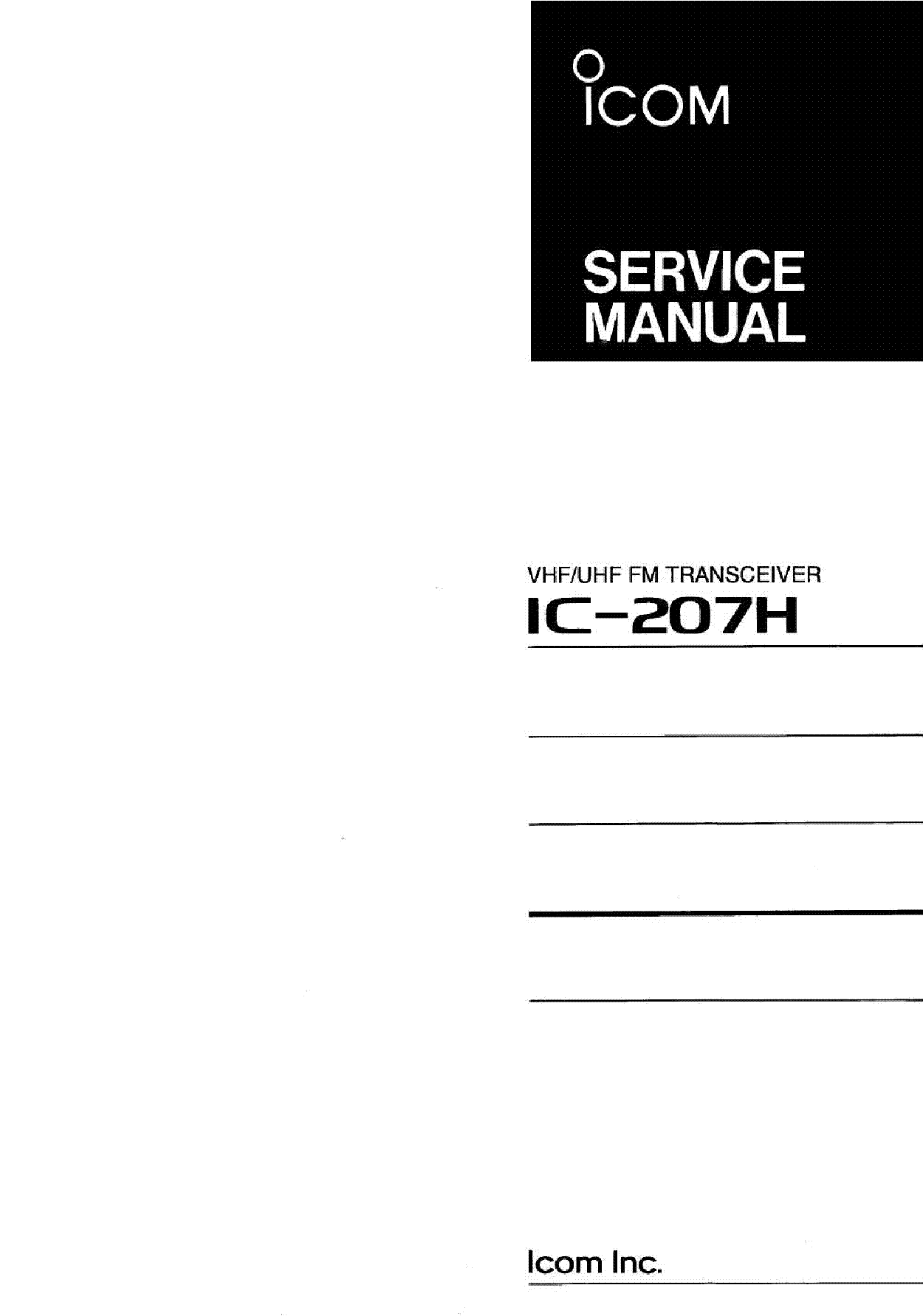 ICOM IC-207H SERVICE MANUAL service manual (1st page)