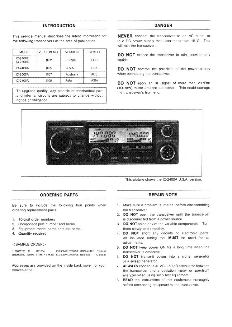 ICOM IC-2400A, 2400E, 2500A, 2500E SERVICE MANUAL Service Manual
