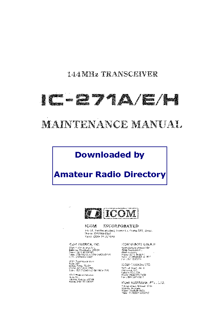 ICOM IC-271 service manual
