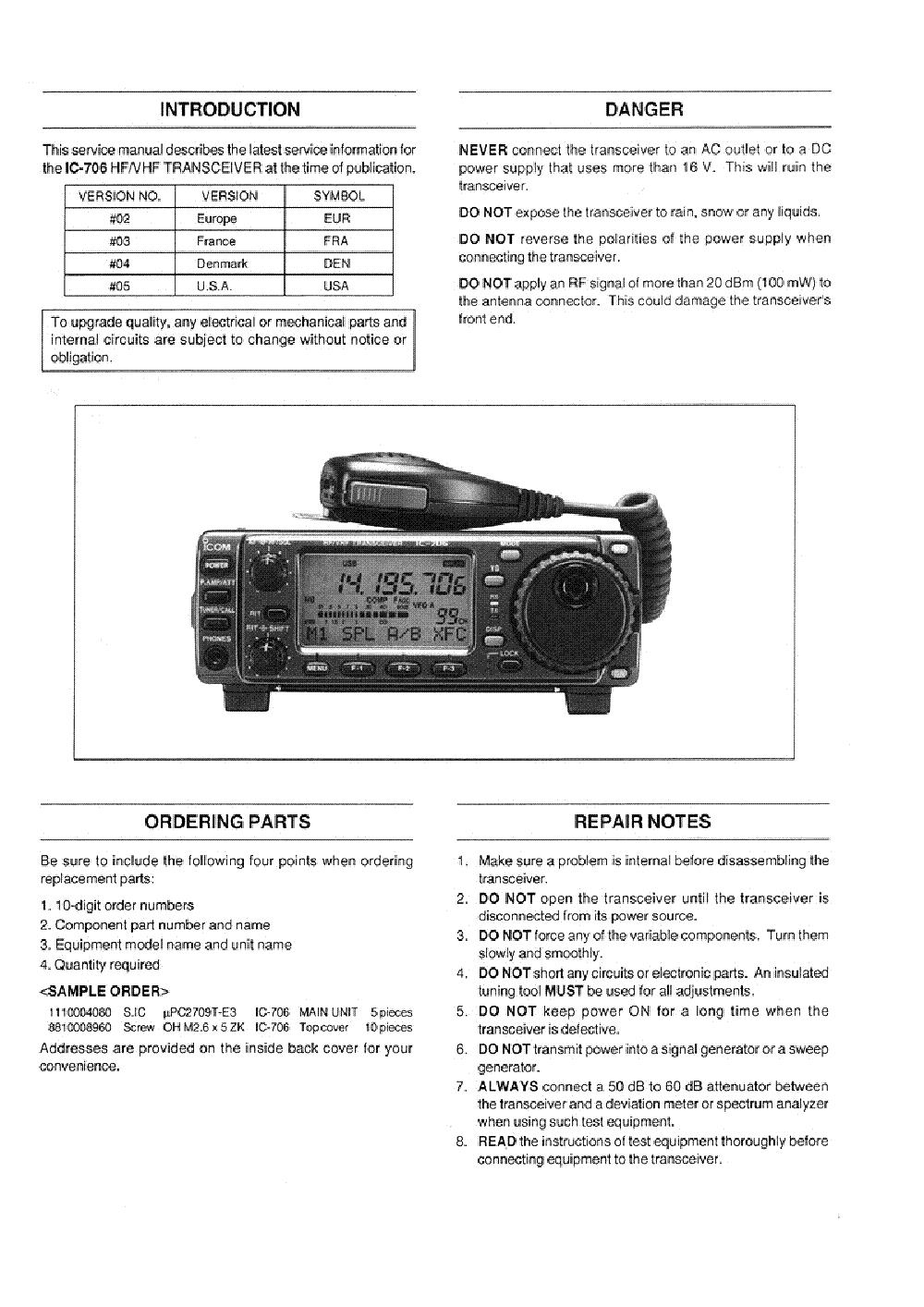 Icom M604 Manual