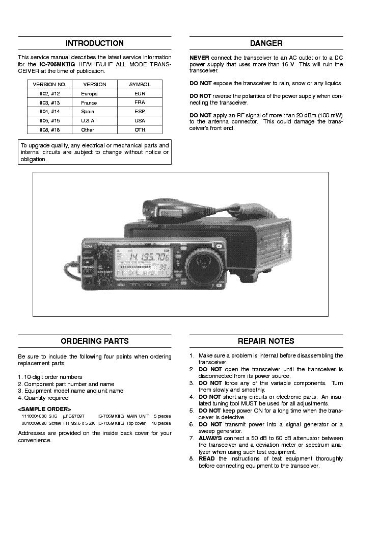 Icom 703 Service Manual