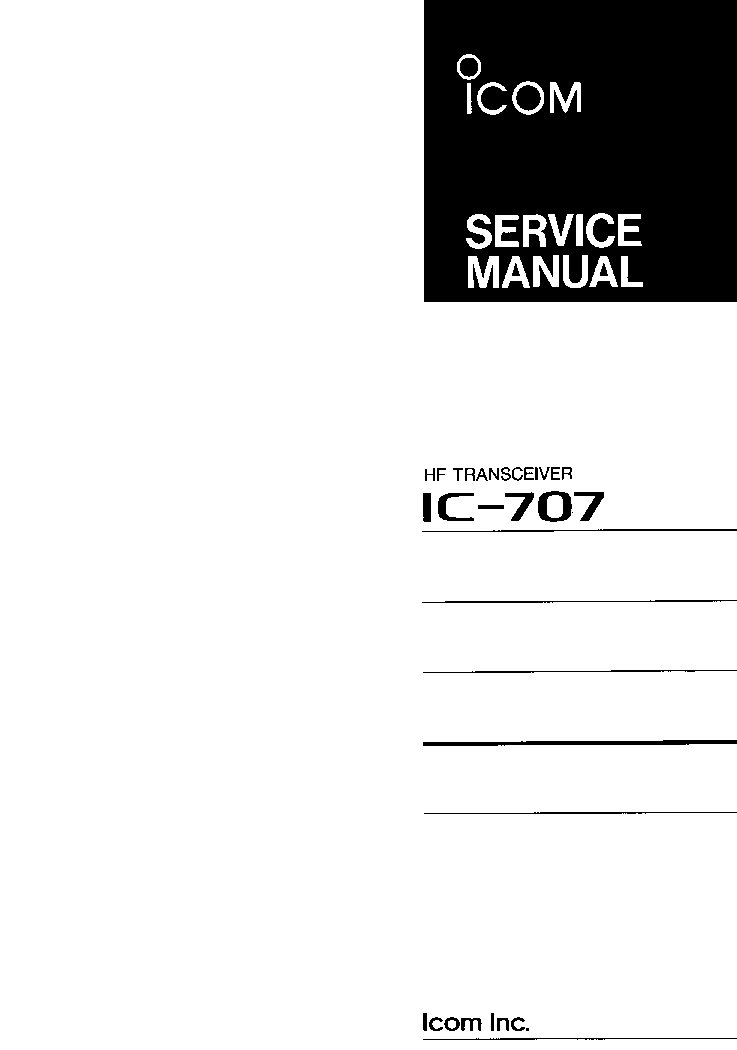 ICOM IC-707 SERVICE MANUAL service manual (1st page)