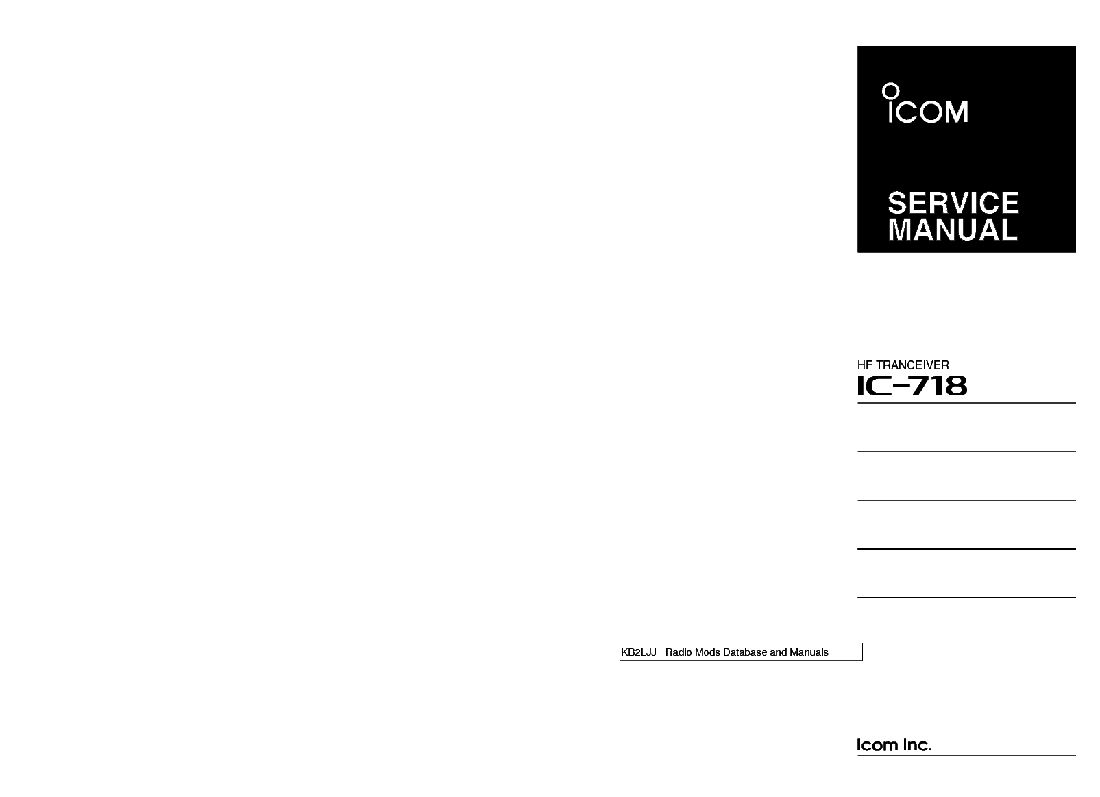 ICOM IC-718 SERVICE MANUAL service manual (1st page)