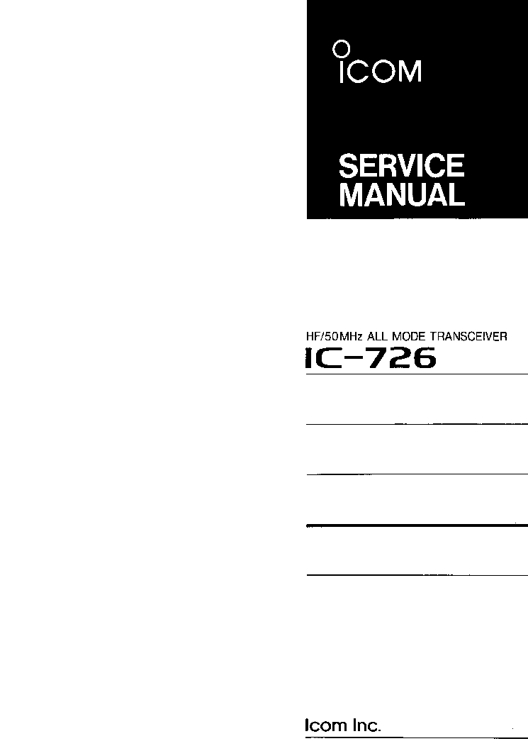 ICOM IC-726 SERVICE MANUAL service manual
