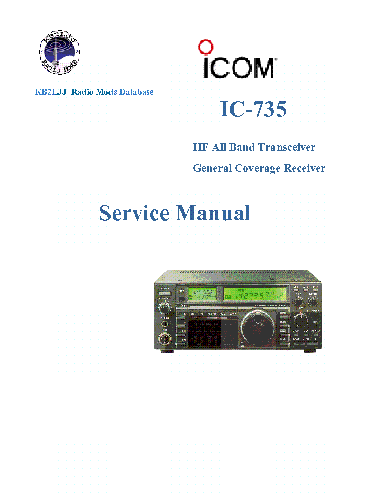 ICOM IC-735 SERVICE MANUAL service manual (1st page)
