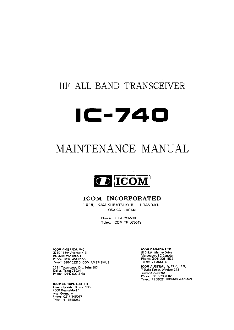 ICOM IC-740 SERVICE MANUAL service manual (1st page)