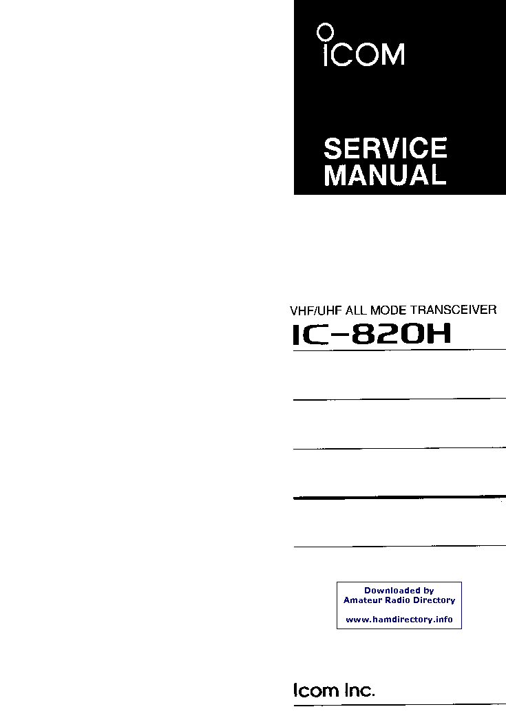 Icom-820h (genuine service manual only.